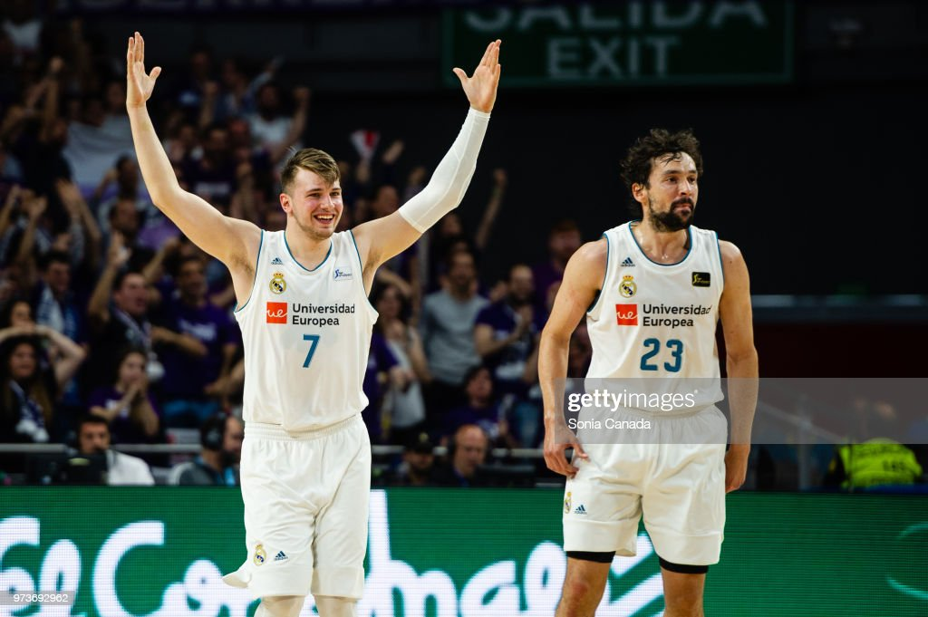 Luka Doncic, #7 guard of Real Madrid during the Liga Endesa game between Real Madrid and Kirolbet Baskonia at Wizink Center on June 13, 2018 in Madrid, Spain.