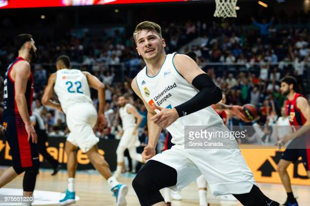 Luka Doncic #7 guard of Real Madrid during the Liga Endesa game between Real Madrid and Kirolbet Baskonia at Wizink Center on June 15 2018 in Madrid...