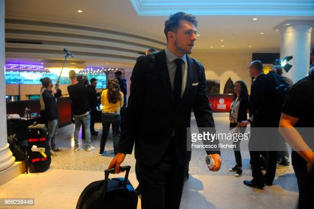 Luka Doncic #7 of Real during the Real Madrid arrival to participate of 2018 Turkish Airlines EuroLeague F4 at Hyatt Regency Hotel on May 16 2018 in...