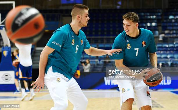 Luka Doncic #7 of Real Madrid and Dino Radoncic #6 of Real Madrid in action during the warm up before 2017/2018 Turkish Airlines EuroLeague Regular...