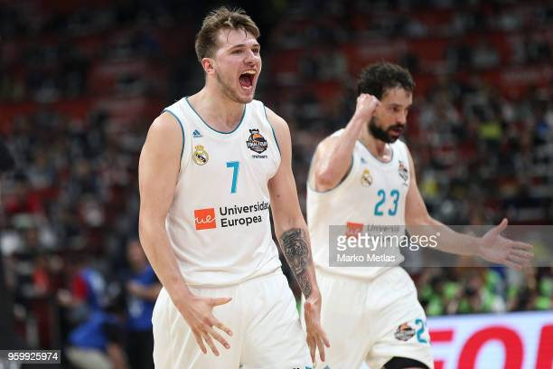 Luka Doncic #7 of Real Madrid and Sergio Llull #23 of Real Madrid celebrate during the 2018 Turkish Airlines EuroLeague F4 Semifnal B game between...