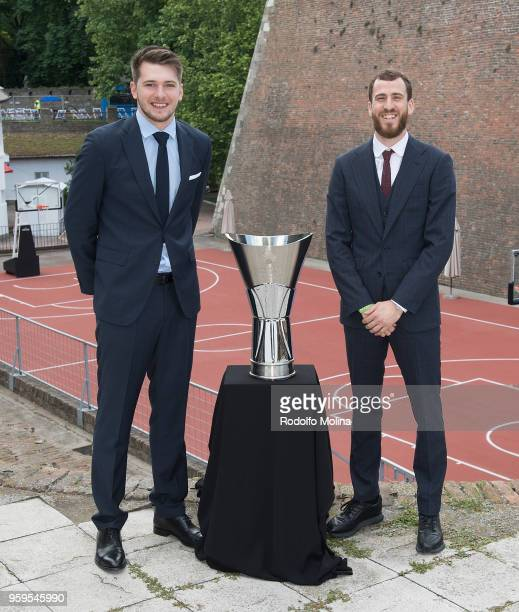 Luka Doncic #7 of Real Madrid and Sergio Rodriguez #13 of CSKA Moscow poses during the 2018 Turkish Airlines EuroLeague F4 Photo Opportunity at...