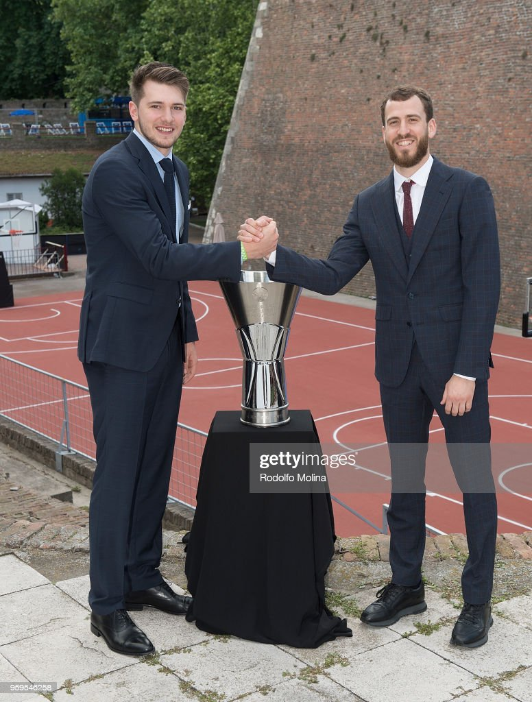 Luka Doncic, #7 of Real Madrid and Sergio Rodriguez, #13 of CSKA Moscow poses during the 2018 Turkish Airlines EuroLeague F4 Photo Opportunity at Kalemegdan Fortress and Park on May 17, 2018 in Belgrade, Serbia.