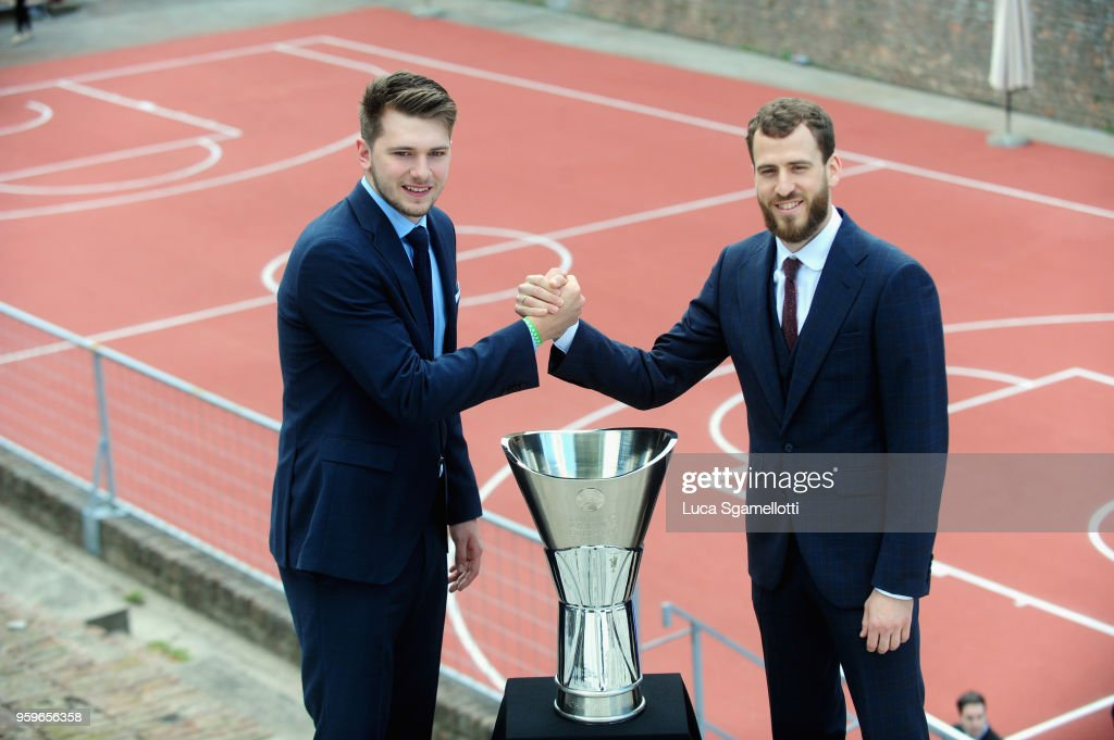Luka Doncic, #7 of Real Madrid and Sergio Rodriguez, #13 of CSKA Moscow during the 2018 Turkish Airlines EuroLeague F4 Photo Opportunity at Kalemegdan Fortress and Park on May 17, 2018 in Belgrade, Serbia.