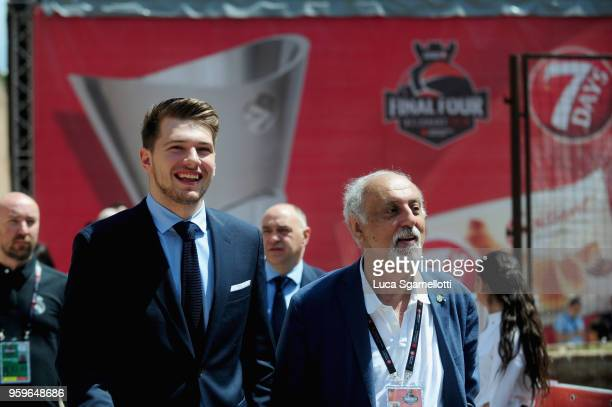 Luka Doncic #7 of Real Madrid arriving at 2018 Turkish Airlines EuroLeague F4 Final Four Opening Press Conference at Kalemegdan Fortress and Park on...