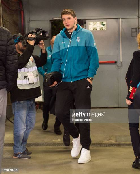 Luka Doncic #7 of Real Madrid arriving to hte arena prior the 2017/2018 Turkish Airlines EuroLeague Regular Season game between FC Barcelona Lassa...