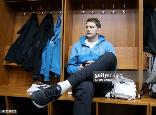 Luka Doncic #7 of Real Madrid before the 2017/2018 Turkish Airlines EuroLeague Regular Season Round 21 game between CSKA Moscow and Real Madrid at...