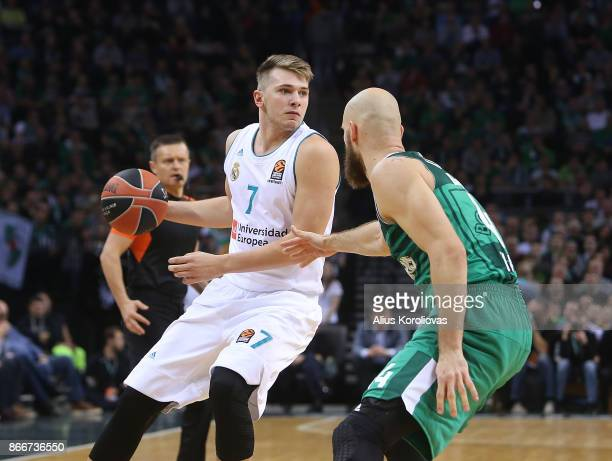 Luka Doncic #7 of Real Madrid competes with Antanas Kavaliauskas #44 of Zalgiris Kaunas in action during the 2017/2018 Turkish Airlines EuroLeague...