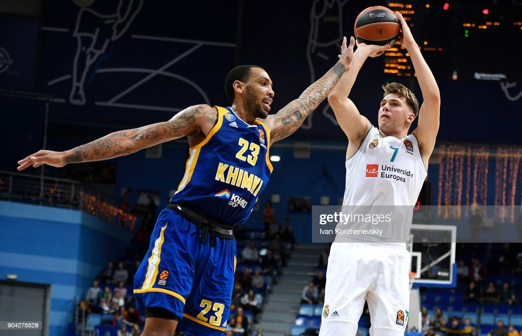 Luka Doncic, #7 of Real Madrid competes with Malcolm Thomas, #23 of Khimki Moscow Region during the 2017/2018 Turkish Airlines EuroLeague Regular Season Round 17 game between Khimki Moscow Region and Real Madrid at Arena Mytishchi on January 12, 2018 in Moscow, Russia.