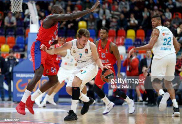 Luka Doncic #7 of Real Madrid competes with Othello Hunter #44 of CSKA Moscow in action during the 2017/2018 Turkish Airlines EuroLeague Regular...