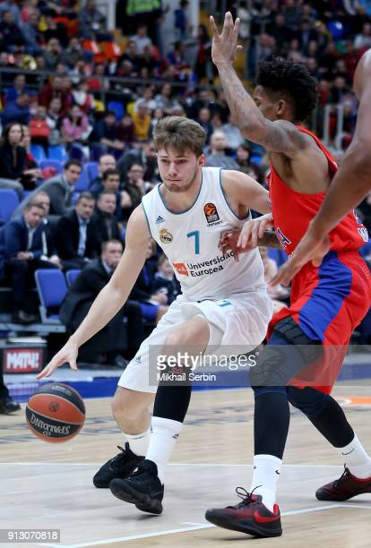 Luka Doncic #7 of Real Madrid competes with Will Clyburn #21 of CSKA Moscow in action during the 2017/2018 Turkish Airlines EuroLeague Regular Season...