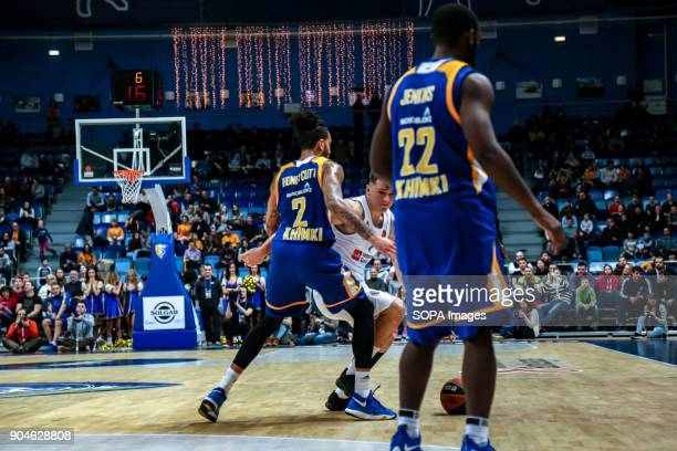 Luka Doncic #7 of Real Madrid drives to the basket against Tyler Honeycutt #2 of Moscow Khimki during the 2017/2018 Turkish Airlines EuroLeague...