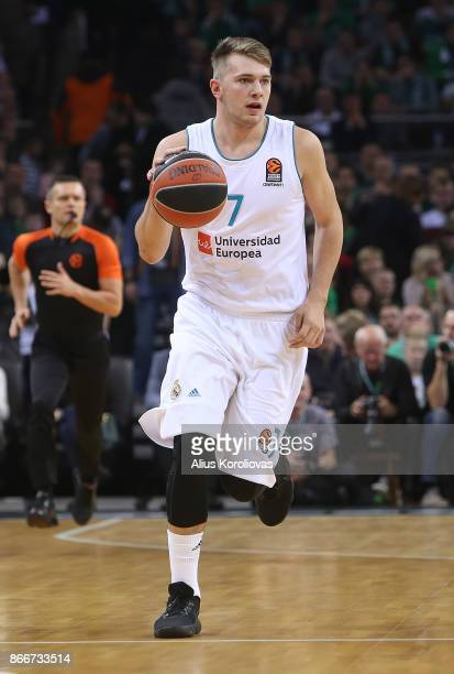 Luka Doncic #7 of Real Madrid in action during the 2017/2018 Turkish Airlines EuroLeague Regular Season Round 4 game between Zalgiris Kaunas and Real...