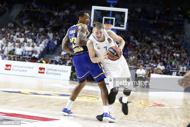 Luka Doncic #7 of Real Madrid in action during the 2017/2018 Turkish Airlines EuroLeague Regular Season Round 5 game between Real Madrid and Khimki...