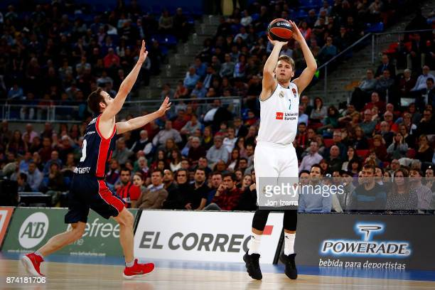 Luka Doncic #7 of Real Madrid in action during the 2017/2018 Turkish Airlines EuroLeague Regular Season Round 7 game between Baskonia Vitoria Gasteiz...