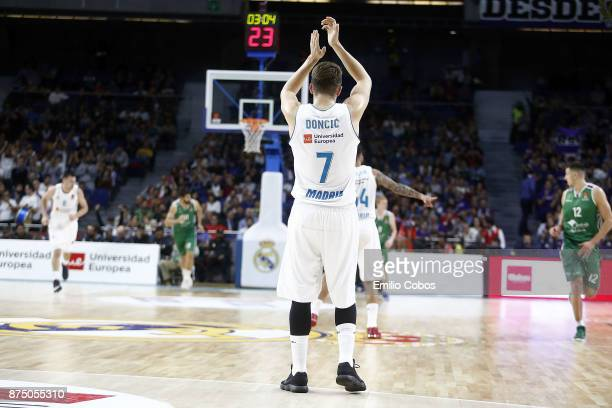Luka Doncic #7 of Real Madrid in action during the 2017/2018 Turkish Airlines EuroLeague Regular Season Round 8 game between Real Madrid and Unicaja...