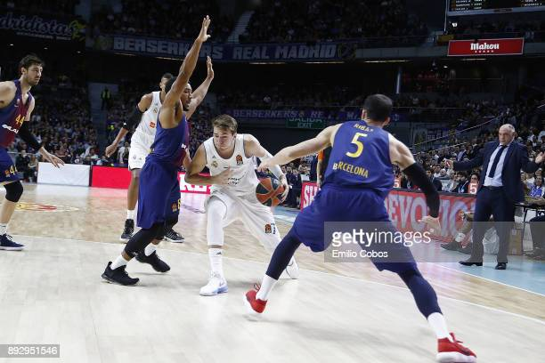 Luka Doncic #7 of Real Madrid in action during the 2017/2018 Turkish Airlines EuroLeague Regular Season Round 12 game between Real Madrid and FC...
