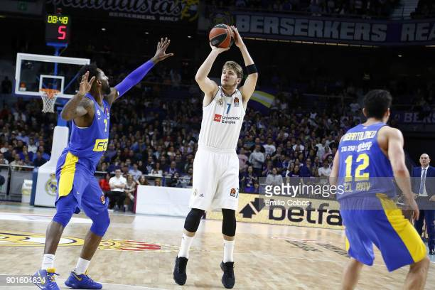 Luka Doncic #7 of Real Madrid in action during the 2017/2018 Turkish Airlines EuroLeague Regular Season Round 16 game between Real Madrid and Maccabi...