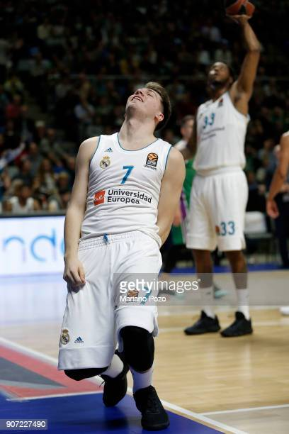 Luka Doncic #7 of Real Madrid in action during the 2017/2018 Turkish Airlines EuroLeague Regular Season game between Unicaja Malaga and Real Madrid...