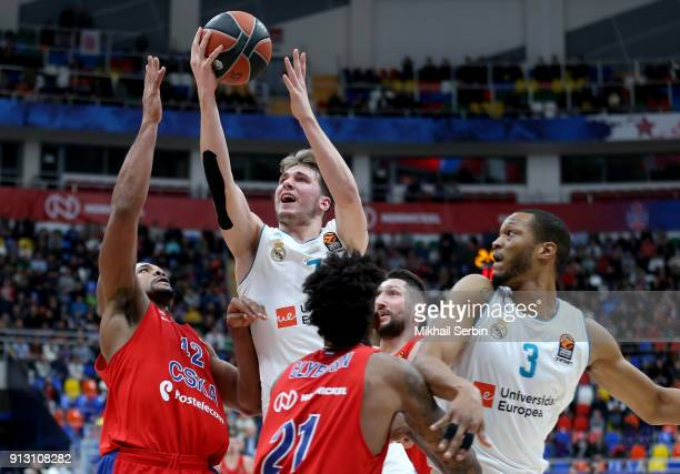 Luka Doncic #7 of Real Madrid in action during the 2017/2018 Turkish Airlines EuroLeague Regular Season Round 21 game between CSKA Moscow and Real...