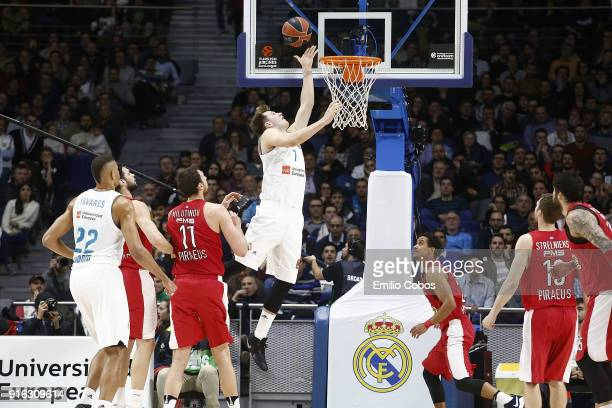 Luka Doncic #7 of Real Madrid in action during the 2017/2018 Turkish Airlines EuroLeague Regular Season Round 22 game between Real Madrid and...