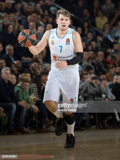 Luka Doncic #7 of Real Madrid in action during the 2017/2018 Turkish Airlines EuroLeague Regular Season game between FC Barcelona Lassa and Real...