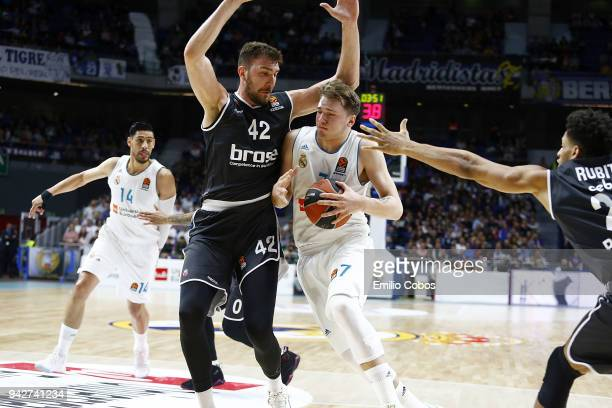 Luka Doncic #7 of Real Madrid in action during the 2017/2018 Turkish Airlines EuroLeague Regular Season Round 30 game between Real Madrid and Brose...