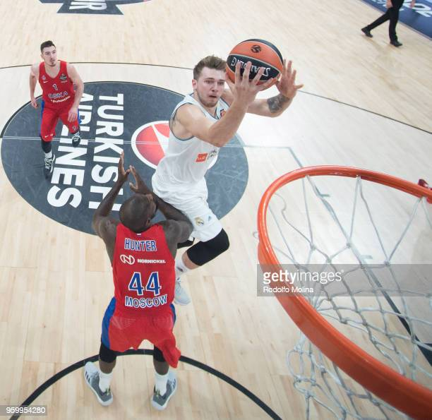 Luka Doncic #7 of Real Madrid in action during the 2018 Turkish Airlines EuroLeague F4 Semifnal B game between Semifinal A CSKA Moscow v Real Madrid...