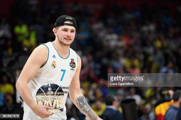 Luka Doncic #7 of Real Madrid MVP of 2018 Turkish Airlines EuroLeague F4 Championship Game between Real Madrid v Fenerbahce Dogus Istanbul at Stark...