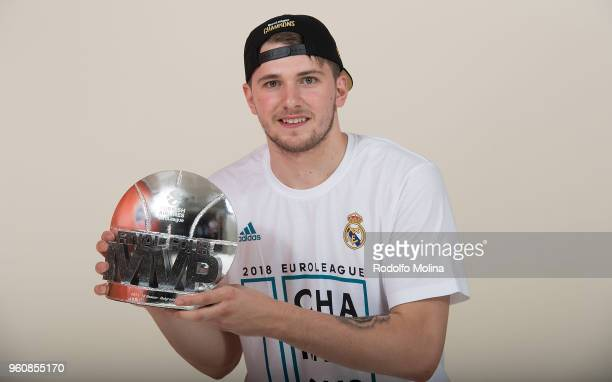 Luka Doncic #7 of Real Madrid poses with MVp of the Final Trophy 2018 Turkish Airlines EuroLeague F4 Champion Photo Session with Trophy at Stark...