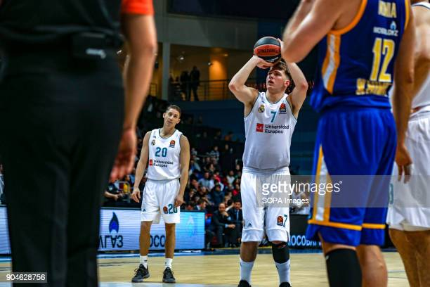 Luka Doncic #7 of Real Madrid shoots a free throw during the 2017/2018 Turkish Airlines EuroLeague Regular Season Round 17 game between Khimki Moscow...