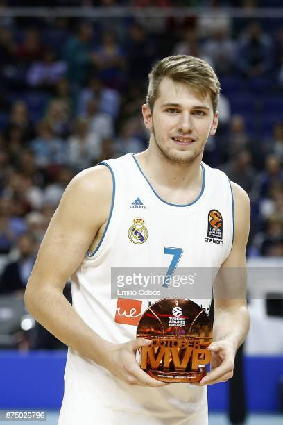 Luka Doncic #7 of Real Madrid with the October Euroleague MVP trophy before the tip off the 2017/2018 Turkish Airlines EuroLeague Regular Season...