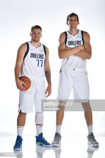 Luka Doncic and Boban Marjanovic of the Dallas Mavericks pose for a portrait during NBA media Day on September 28, 2021 at American Airlines Center...