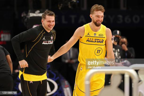 Luka Doncic and Domantas Sabonis of Team LeBron smile during the Taco Bell Skills Challenge as part of 2021 NBA All Star Weekend on March 7, 2021 at...