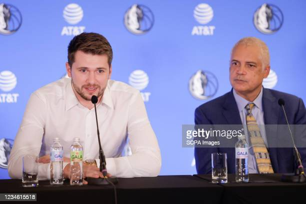 Luka Doncic and his agent Bill Duffy speak at a press conference. Slovenian NBA star, Luka Doncic signed a five-year 207-million-dollar contract...