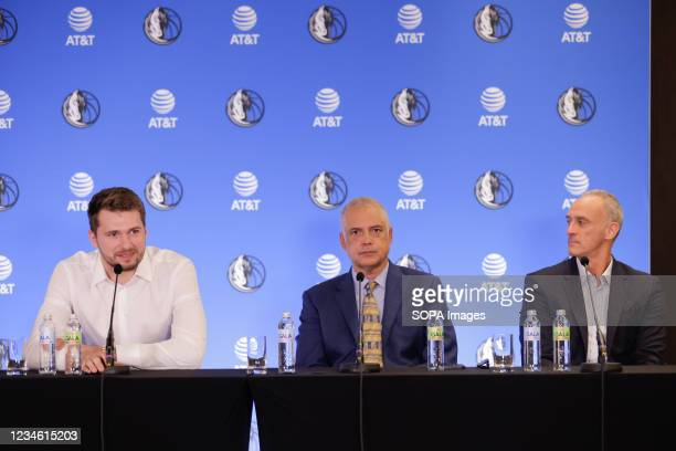 Luka Doncic and his agents Bill Duffy and Enrique Villalobos speak at a press conference. Slovenian NBA star, Luka Doncic signed a five-year...