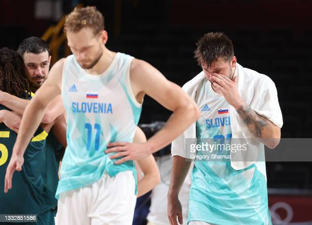 Luka Doncic and Jaka Blazic of Team Slovenia react in disappointment following Slovenia's loss to Team Australia in the Men's Basketball Bronze medal...