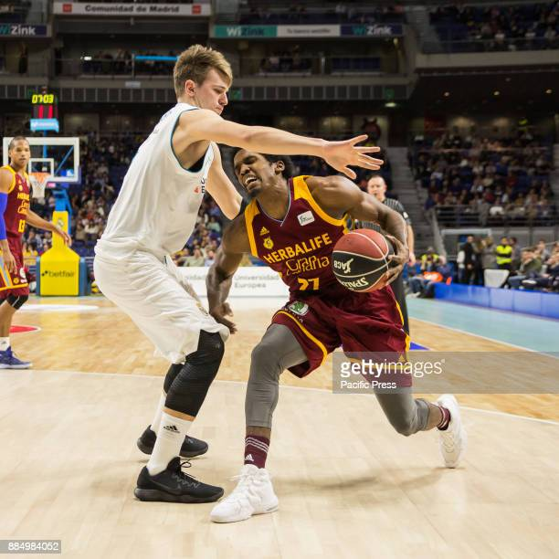 Luka Doncic and Shaquielle McKissic during Real Madrid victory over Herbalife Gran Canaria in Liga Endesa regular season game celebrated in Madrid at...