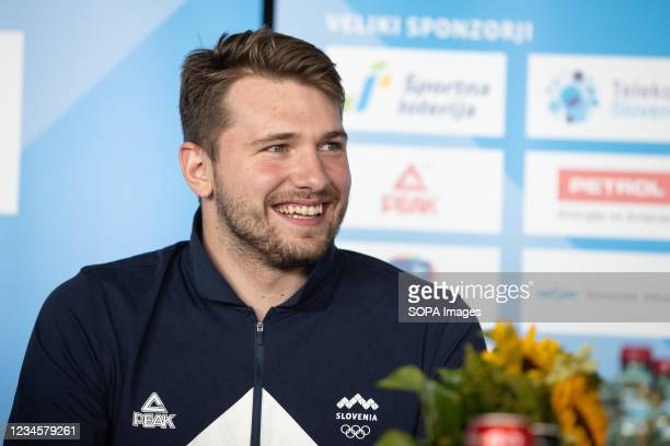 Luka Doncic attends a press conference upon Slovenia basketball team's arrival at Ljubljana airport. Slovenia basketball team arrived at Ljubljana...