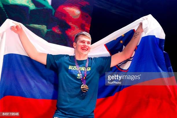 Luka Doncic celebrate in Ljubljana after Slovenian basketball team historical win in European Championship in Istanbul on September 18, 2017 in...
