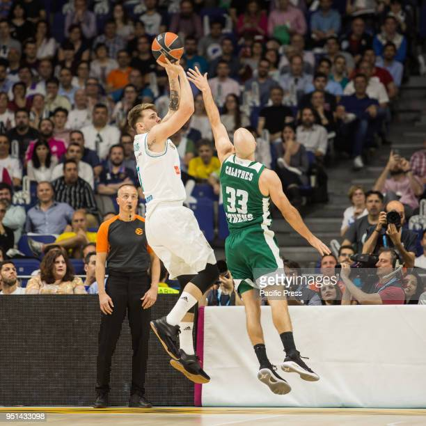 Luka Doncic during Real Madrid victory over Panathinaikos Athens in Turkish Airlines Euroleague playoff series celebrated at Wizink Center in Madrid