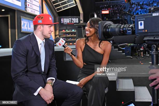 Luka Doncic is interviewed by Maria Taylor of ESPN after being selected number three overall during the 2018 2018 NBA Draft on June 21 2018 in...