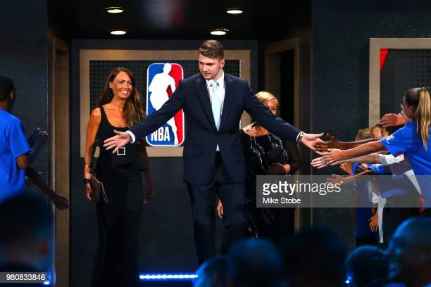 Luka Doncic is introduced before the 2018 NBA Draft at the Barclays Center on June 21 2018 in the Brooklyn borough of New York City NOTE TO USER User...