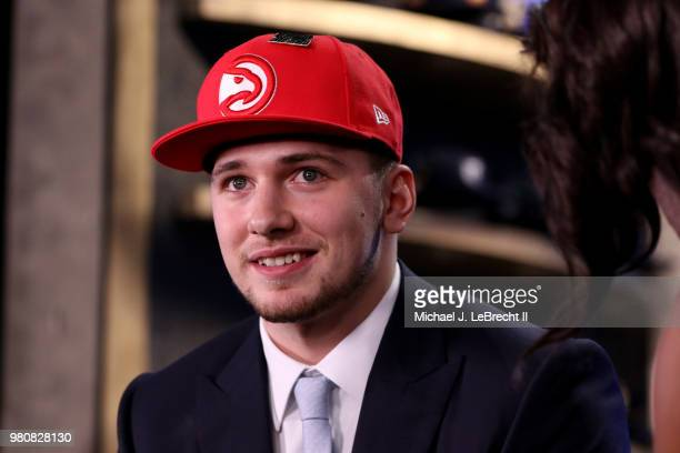 Luka Doncic looks on after being selected number third overall by the Atlanta Hawks on June 21 2018 at Barclays Center during the 2018 NBA Draft in...