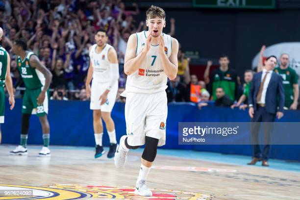 Luka Doncic of Real Madrid celebrates the victory during the Turkish Airlines Euroleague Play Offs Game 4 between Real Madrid v Panathinaikos...