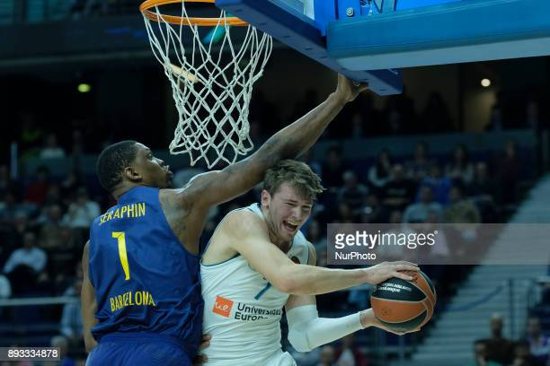 Luka Doncic of Real Madrid during the 2017/2018 Turkish Airlines Euroleague Regular Season Round 12 game between Real Madrid v FC Barcelona Lassa at...