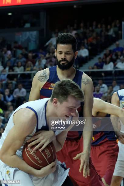 Luka Doncic of Real Madrid during the Liga Endesa game between Real Madrid v FC Barcelona at Barclaycard Center on March 12 2017 in Madrid Spain