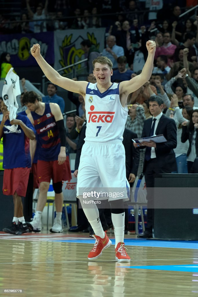 Luka Doncic of Real Madrid during the Liga Endesa game between Real Madrid v FC Barcelona at Barclaycard Center on March 12, 2017 in Madrid, Spain.