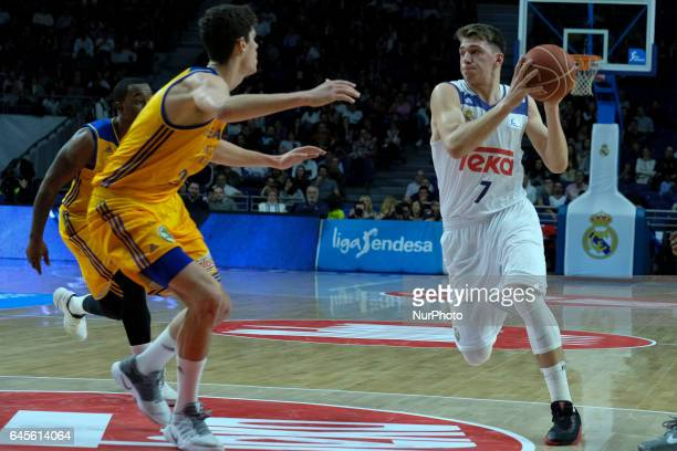 Luka Doncic of Real madrid during their Herbalife Gan Canaria vs Real Madrid Spanish ACB League match played at Sports Palace in Madrid 26 February...