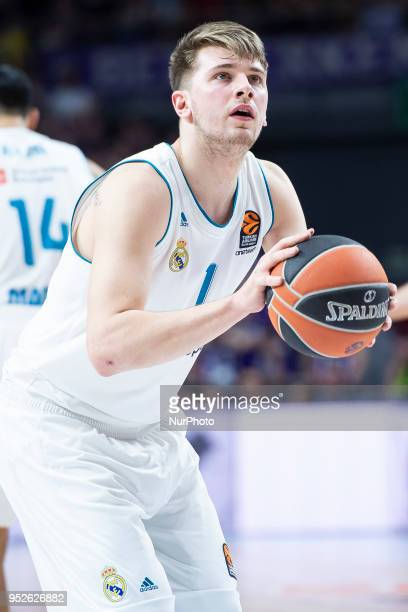 Luka Doncic of Real Madrid in action during the Turkish Airlines Euroleague Play Offs Game 4 between Real Madrid v Panathinaikos Superfoods Athens at...
